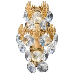 Palwa Gilt Metal Jewel Crystal Sconce