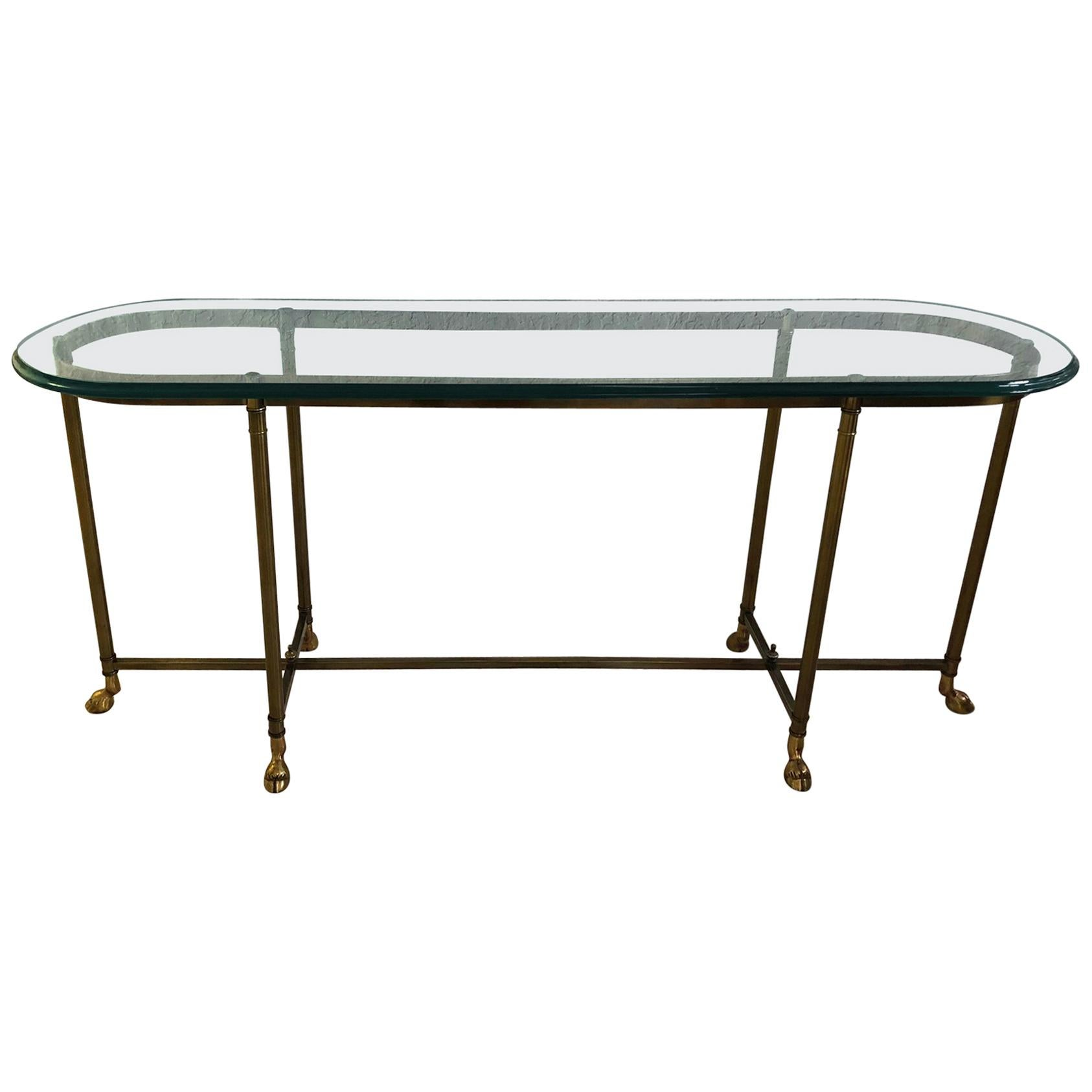 Brass Console Table Glass Top With Hoof Feet