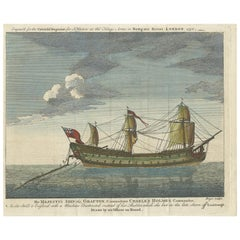 Antique Print of the HMS Grafton Ship by Boyce, 1758