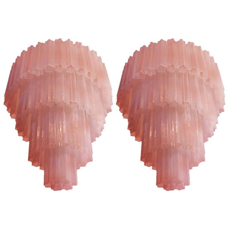 Pair of Amazing Tronchi Chandeliers Style Toni Zuccheri for Venini, Murano