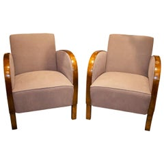 Pair of Art Deco Continental Satin Birch Club Chairs, circa 1920