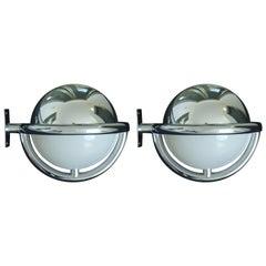 Pair of Art Deco Bauhaus Chrome and Plexiglass Huge Round Wall Lights Scones