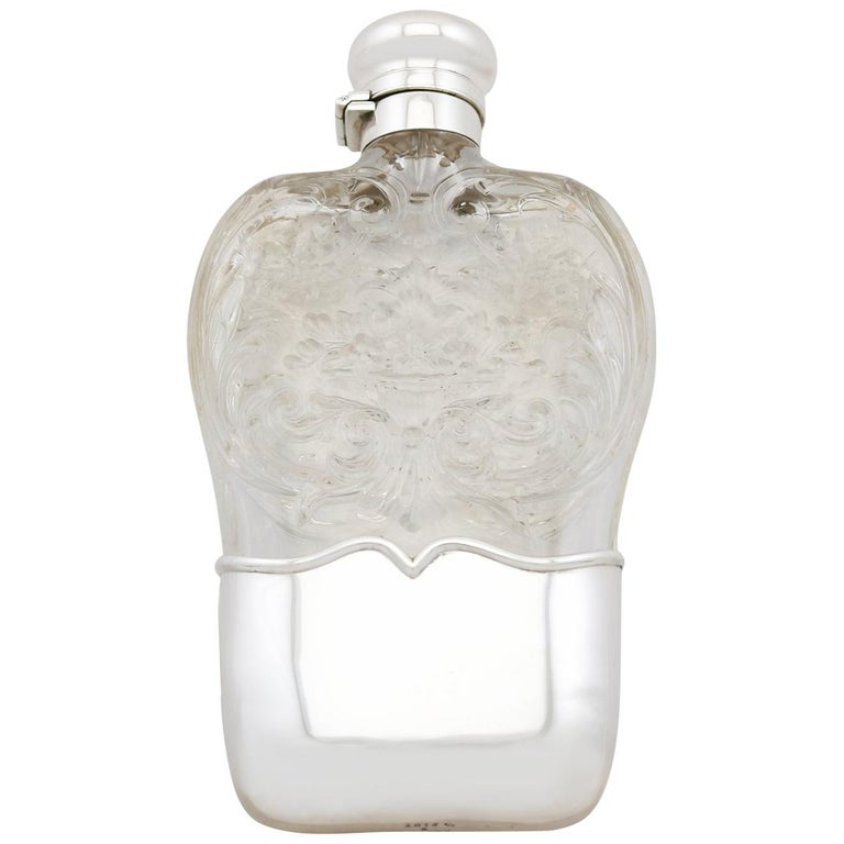 1897 Antique American Sterling Silver and Glass Hip Flask