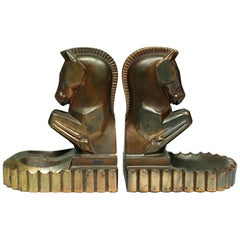 Art Deco Bronze Plated Horse Bookend/Pipe Holder, circa 1930s