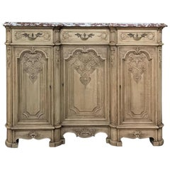 19th Century French Louis XIV Marble Top Stripped Oak Hand-Carved Buffet