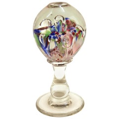 Italian Midcentury Murano Floral Glass Sphere on Glass Stand