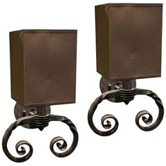 Pair of Single Light Iron Sconces