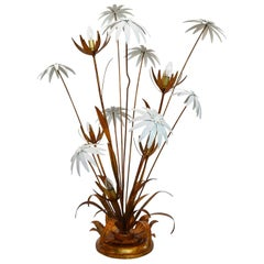 German Gilt Floor Lamp with White and Golden Flowers by Hans Kogl, 1970s