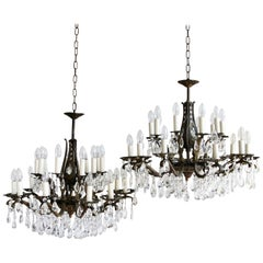 Pair of Cast Brass and Crystal Chandeliers