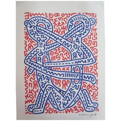 Keith Haring Disciples 1984 Mixed-Media Felt Tip Pen and Tempera Paint