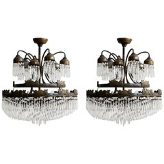Pair of Large Spiral Waterfall Chandeliers