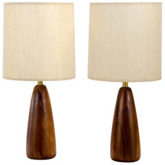 Pair of Walnut Table Lamps, Original Shades