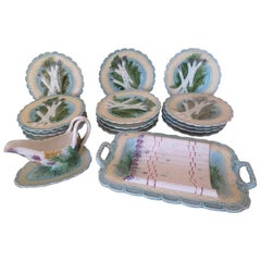 Mid-Late 19th Century French Majolica Barbotine Asparagus by Salins Les Bains