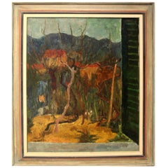 20th Century Expressionist Window Landscape by Italian Artist Enzo Roberti