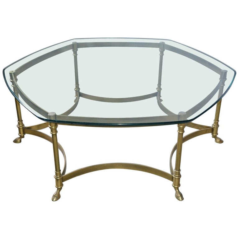 Vintage Labarge Style Hexagon Brass Coffee Table For Sale