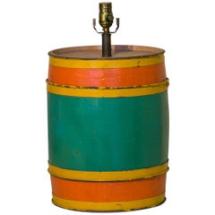 Hand-Made and Hand-Painted Carnival Barrel as Table Lamp