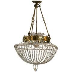 Vintage Glass Beaded Basket Chandelier