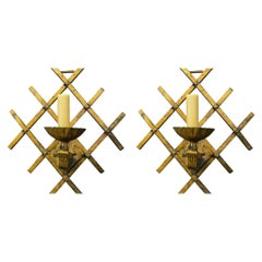 Pair of Gilt on Iron Midcentury French Sconces with Unique Geometry and Fretwork