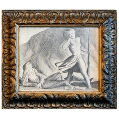 """""""Nude Shepherdess,"""" Art Deco Drawing in Style of Rockwell Kent, Sculpted Frame"""