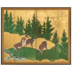 Japanese Two-Panel Screen, Deer in Cedar Landscape