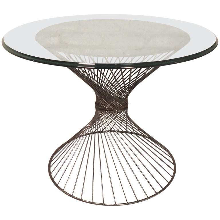 Glass Top Metal Side Table