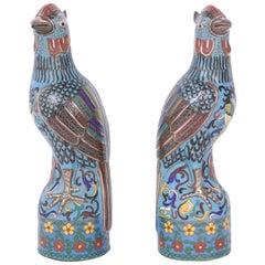 Pair of Antique Cloisonné Birds