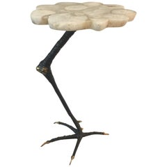 Ostrich Leg in Bronze and Agate Top Drinks Table