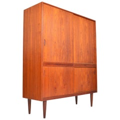 Danish Modern Teak Sliding Door Cupboard Bureau