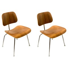 Iconic Pair of DCM Chairs Designed by Charles Eames for Herman Miller