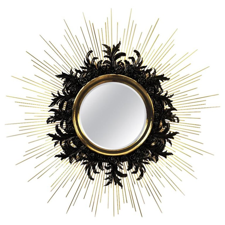 Contemporary Gold Sunburst Mirror with Brass and Lacquered Carved Wood For Sale