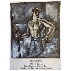 """Industrial,"" Collection of Ironworker Paintings and Drawings by Garth, 1920s"