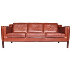Danish Modern Three-Seat Sofa in Rust Red Leather
