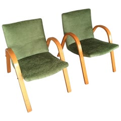 Midcentury Pair of Bow Wood Armchairs for Steiner