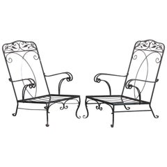 Pair of Salterini Style Wrought Iron Armchairs, 1930s