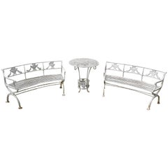 Neoclassical Cast Iron Benches and Table