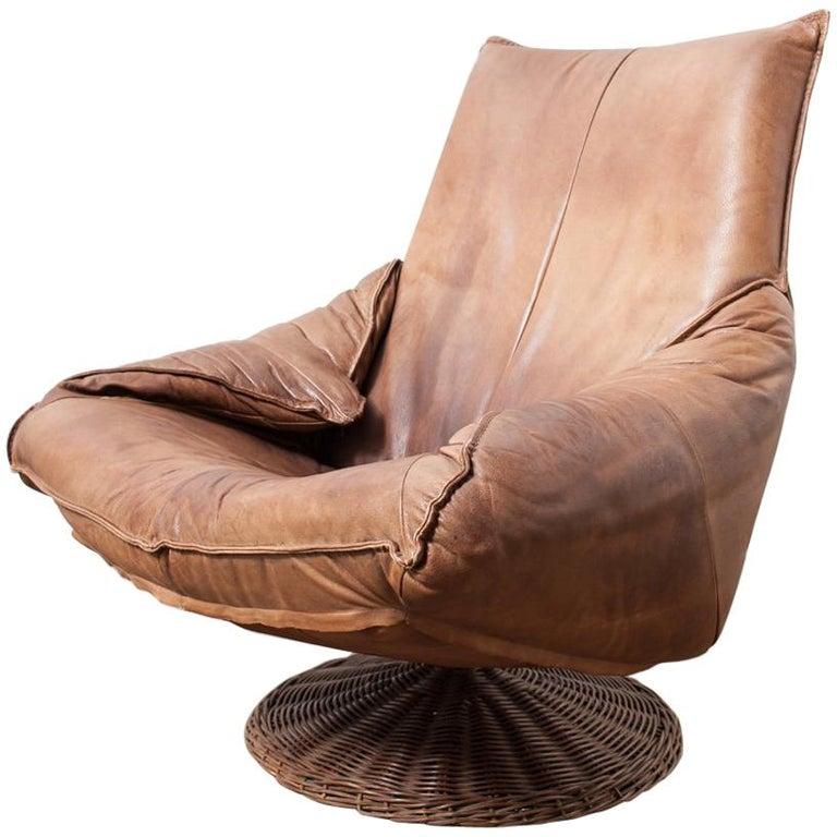 Gerard van den Berg Leather and Rattan Lounge Chair