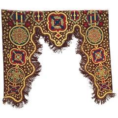 Antique Needlepoint Door Curtain Tapestry