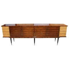 Long French Art Deco Macassar Ebony with Burl Wood Sideboard or Buffet