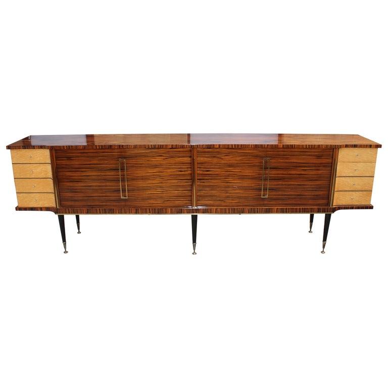 Long French Art Deco Macassar Ebony with Burl Wood Sideboard or Buffet