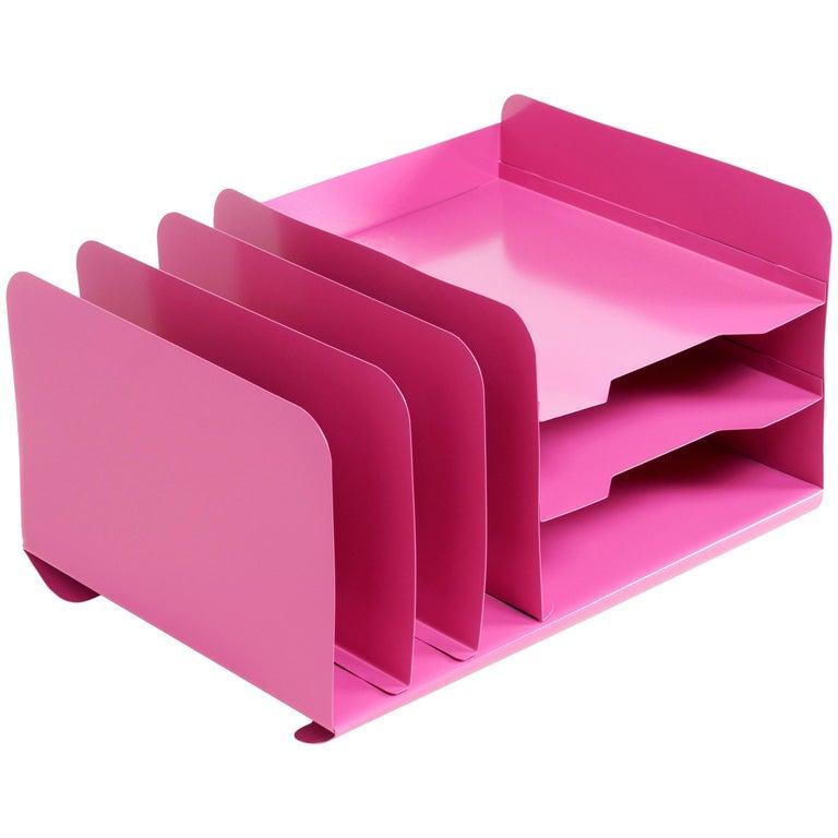 Space Age Desktop File Holder Refinished In Pink