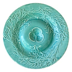 Majolica Aqua Seaweeds Plate Gien, circa 1880