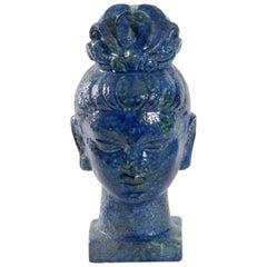 Bitossi Aldo Londi Guan Yin Head Italy 1965 Blue Glaze