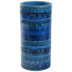 Bitossi Aldo Londi Blaue Zylinder Vase, Italien, Circa 1968