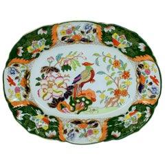 "Antique English Mason's Ironstone ""Green Imari"" Rare Pattern Small Platter"