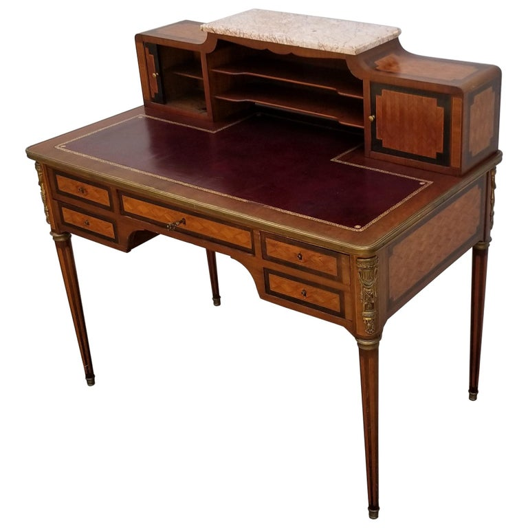 French Louis XVI Style Parquetry Desk, circa 1900