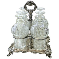 Antique English Geo. III Old Sheffield Hand-Cut Crystal Four Bottle Decanter Set