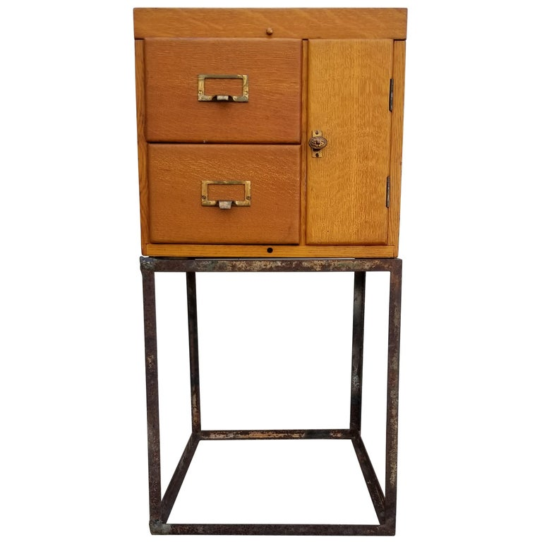 Custom Antique File Cabinet with Steel Base For Sale - Custom Antique File Cabinet With Steel Base For Sale At 1stdibs
