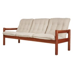 Domino Mobler Solid Teak Danish Modern Three-Seat Sofa Couch, New Upholstery