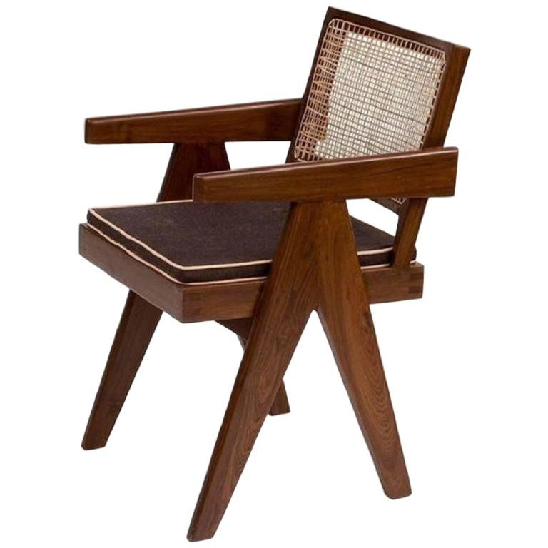 Pierre Jeanneret Teak Office Cane Armchairs for Chandigarh, India, 1950s