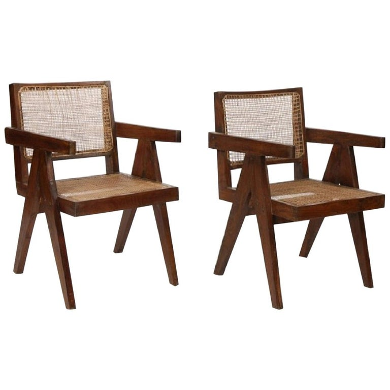 Pierre Jeanneret Teak Set Two Office Cane Armchairs for Chandigarh India, 1950s